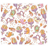 Bright fantastic background with flowers and space birds. Seamless pattern can be used for wallpapers, pattern fills, web page backgrounds and textile Royalty Free Stock Image