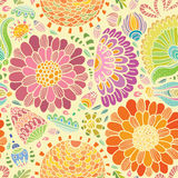 Bright fantasy flowers seamless background vector Royalty Free Stock Photography
