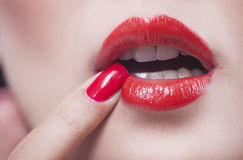 Fashion red lips and nails Royalty Free Stock Photography