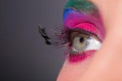 Bright fashionable eye with feathers on eyelashes Royalty Free Stock Images