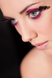 Bright fashionable eye with feathers on eyelashes Royalty Free Stock Image