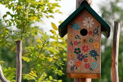 Bright feeder, house for birds Royalty Free Stock Image
