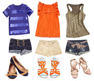 Bright female summer clothes collage. Teenager wear set. Short sleeve clothes Stock Photos