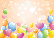 Bright festive background. Bright background with the multi-colored balloons against background with bokeh lights and stars, vector illustration Stock Photos