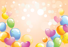 Bright festive background. Bright background with the multi-colored balloons against background with bokeh lights and stars, vector illustration Royalty Free Stock Photography