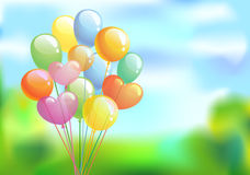 Bright festive background. Bright background with the multi-colored balloons against a clear sky, vector illustration Stock Image