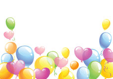 Bright festive background. Bright background with the multi-colored balloons against white background, vector illustration Royalty Free Stock Images