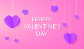 Bright festive background with paper hearts. For Valentines day Stock Photo