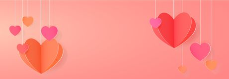 Bright festive banner. With paper heart festoon Stock Photo
