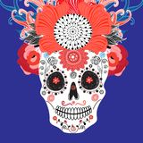 Bright festive card for Halloween with a floral skull Royalty Free Stock Photo