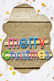Bright festive Christmas greeting on woods with snowy frame Royalty Free Stock Photography