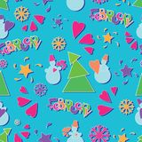 Bright, festive February!. Seamless pattern. Drawing for children in a flat style. Design for the calendar, planning, sketchbook, textiles or packaging Royalty Free Stock Images