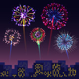 Bright festive fireworks with modern city cityshape background Royalty Free Stock Photo