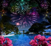 Bright festive fireworks over the sea and the beach Royalty Free Stock Images