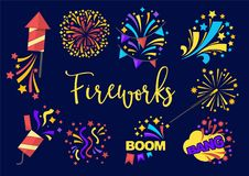 Bright festive fireworks with rockets and confetti set. Bright festive fireworks with rockets and confetti with loud sound boom isolated cartoon vector Stock Photo