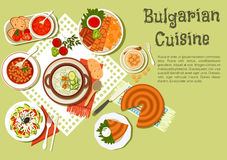 Bright festive menu icon of bulgarian cuisine. Festive bulgarian dishes flat icon with kebabs served with fried potatoes and tomato sauce, cold yogurt soup Stock Photography
