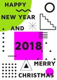 Bright festive New Year poster. Colorful gradient vector illustration of celebration for Happy new year 2018 season Stock Photos