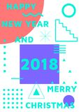 Bright festive New Year poster. Colorful gradient vector illustration of celebration for Happy new year 2018 season Stock Image