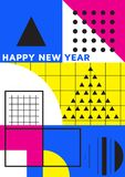 Bright festive New Year poster. Colorful vector illustration of celebration for Happy new year 2018 season Stock Photo
