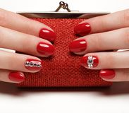 Bright festive red manicure royalty free stock photos