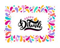 Bright festive lettering text Diwali with imitation of diya oil lamp with flame in confetti square border frame stock illustration