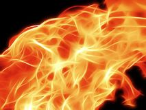 A bright fiery flame on a black background in neon light. Closeup Stock Photography