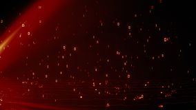 Bright fiery red glowing particles with binary data of 1 and 0 rain royalty free illustration