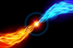 Bright fiery Star. Star with Red and Blue Flame tail for you design on black Royalty Free Stock Images