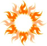 Bright fiery sun. A round frame with the bright fiery sun Stock Photos