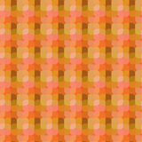 Bright figures on orange background. Seamless vector pattern with squares. Geometric abstraction include colorful figures stock illustration