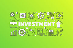 Bright finance illustration. Vector business concept banner made with word INVESTMENT and outline icons on green background Stock Photography