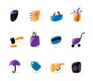 Bright finance and shopping icons. Vector illustration Royalty Free Stock Photo