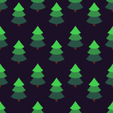 Bright fir tree in an isometric style on a dark background. Seamless pattern. Flat figures Stock Photos