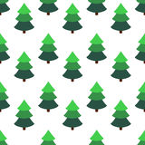 Bright fir tree in an isometric style on a white background. Seamless pattern. Flat figures Royalty Free Stock Photo