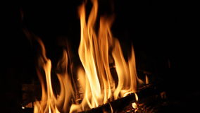 Bright fire of a fire stock footage