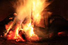 Bright fire in the fireplace. Burning wood photographed close Stock Photography
