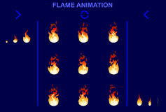 Bright Fire Flame Animation Set. Of different shapes for game design in cartoon style  vector illustration Royalty Free Stock Photo