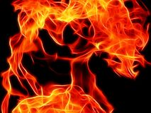 Bright fire flame on a black background in neon color. Close-up Royalty Free Stock Photos