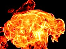 Bright fire flame on a black background in neon color. Close-up Stock Photography