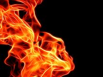 Bright fire flame on a black background in neon color. Close-up Stock Images