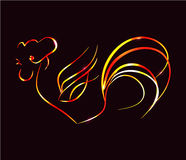 Bright fire rooster on a black background. Artistically painted, bright fire rooster on a black background. Symbol 2017. Can be used as logo, New Year decorated Stock Images