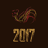Bright fire rooster on a brown background. Artistically painted, bright fire rooster on a black background. Symbol 2017. Can be used as logo, New Year decorated Royalty Free Stock Photos