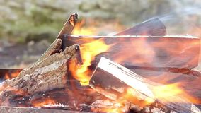 Bright fire smoke and firewood close up. Warm fireplace with lots of trees ready for barbecue. stock video footage