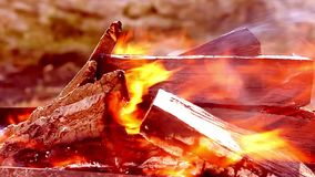 Bright fire smoke and firewood close up. Warm fireplace with lots of trees ready for barbecue. stock footage