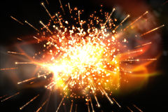 Bright firework design on black Royalty Free Stock Image