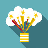 Bright firework icon, flat style Royalty Free Stock Photography