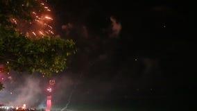 Firework in the sky. Bright firework in night sky on dark sea