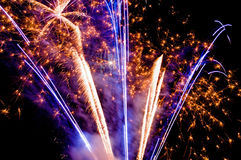 Bright fireworks. Bright firework on black sky Royalty Free Stock Images