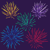 Bright fireworks. Colorful vector fireworks. This is file of EPS10 format royalty free illustration