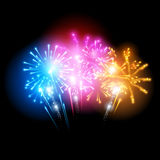 Bright Fireworks Display. Vector illustration Stock Images